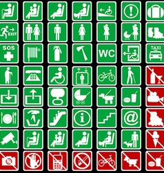 Collection of international signs used in vector image