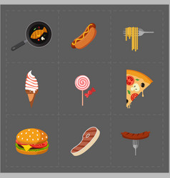 Colorful fast food icon set on grey background vector