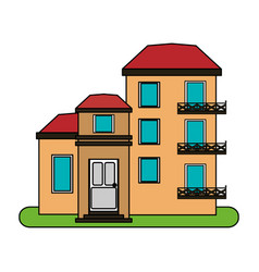 Colorful image cartoon facade comfortable lodgings vector