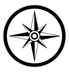 Compass button on white vector