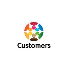 creative colorful crowd logo symbol design vector image