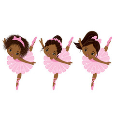 Cute little african american ballerinas vector