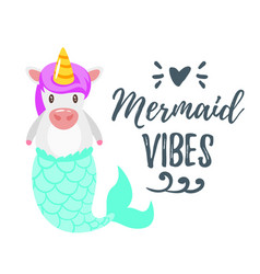 Cute unicorn with mermaid tail vector