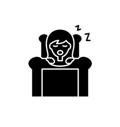 Deep sleep black icon sign on isolated vector