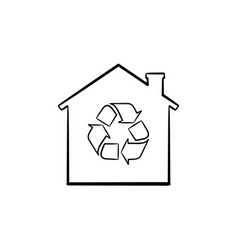 eco house hand drawn outline doodle icon vector image
