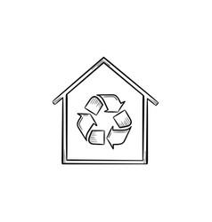 Eco house with recycle symbol hand drawn icon vector
