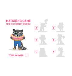 educational matching game for preschool kids find vector image