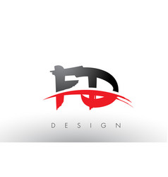 Fd f d brush logo letters with red and black vector