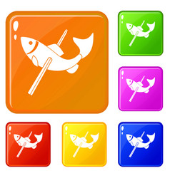 Fishing icons set color vector
