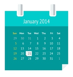 Flat calendar page for January 2014 vector image