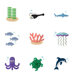 Flat icon sea set of shark tuna playful fish and vector