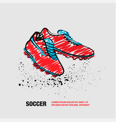 Football boots on a white background outline of vector