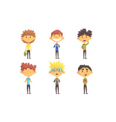 funny school boys cartoon characters with various vector image