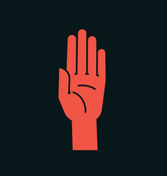 Gesture stop sign stylized hand with all fingers vector