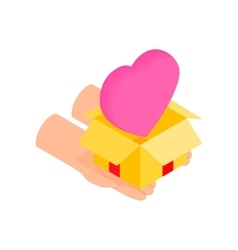 Gift box with a pink heart isometric 3d icon vector image