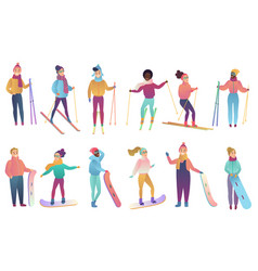 group of cute cartoon skiers and snowboarders in vector image