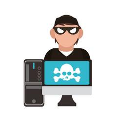Hacker on computer vector