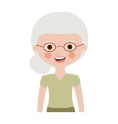 half body elderly woman with glasses vector image