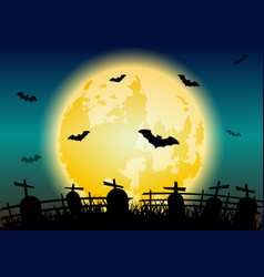 halloween night background with graves vector image