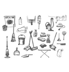 Hand drawn sketch of cleanup items vector