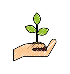 Hand holding plant growth business finance concept vector