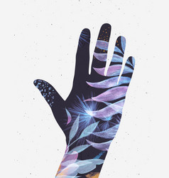 hand silhouette floral blue tones vector image