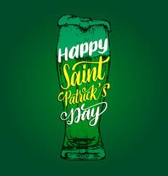 happy saint patricks day handwritten phrase drawn vector image