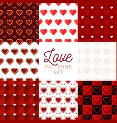 heat pattern set heart seamless pattern vector image