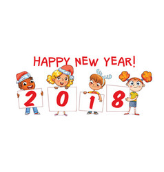 holding poster new year 2018 vector image