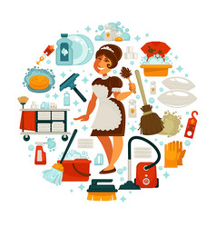 house cleaning housewife or housemaid vector image