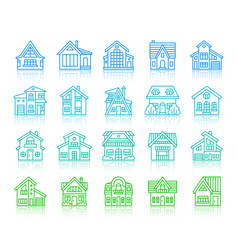 house cottage simple color line icons set vector image