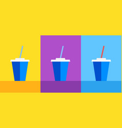 Icon blue plastic cup with coke or ice tea on vector