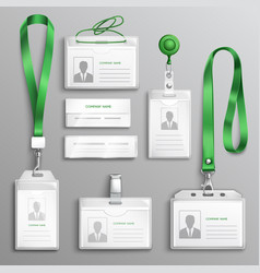 id cards badges realistic set vector image
