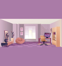 Interior room home office vector