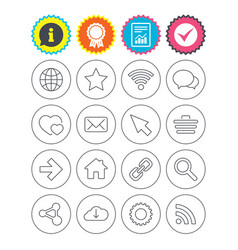 Internet and web icons wi-fi favorite star vector