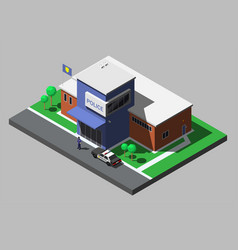 isometric building of police department vector image