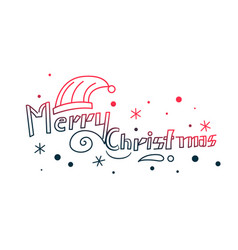 merry christmas hand drawn lettering decorative vector image