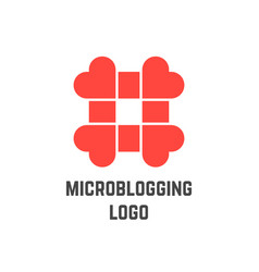 microblogging logo with hashtag from hearts vector image