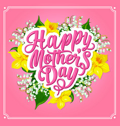 mother day greeting card with spring flower heart vector image