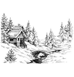 Mountain cabin in the woods near river vector