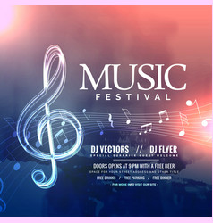 Music festival invitation design with notes vector