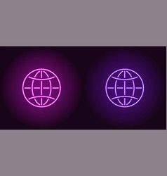 neon icon of purple and violet globe vector image
