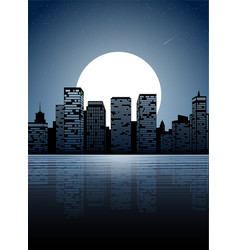 night city dark urban scape night cityscape in vector image