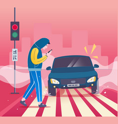Pedestrian accident - man vector