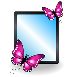 Pink butterfly message board vector image