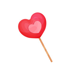 pink lollipop in shape of heart candy on wooden vector image