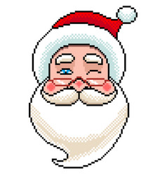 pixel santa portrait detailed isolated vector image