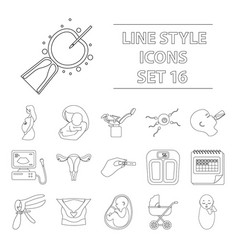 pregnancy set icons in outline style big vector image