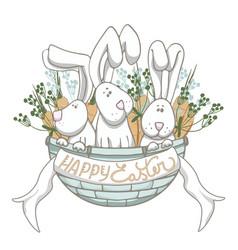 rabbits in blue basket vector image