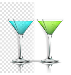 realistic glass with alcoholic cocktail vector image